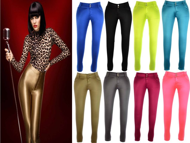 NEW WOMENS AMERICAN STYLE APPAREL SHINEY DISCO PANTS LADIES HIGH WAISTED LEGGING